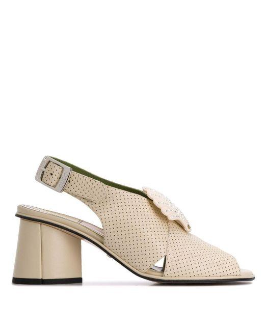 Босоножки На Наборном Каблуке С Перфорацией Gucci, цвет: White