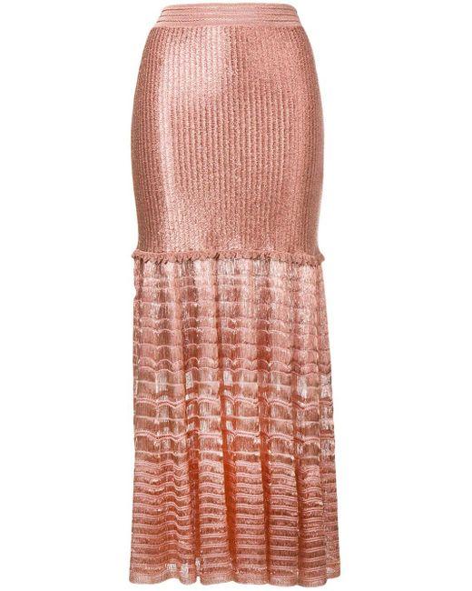 Трикотажная Юбка Макси Alexander McQueen, цвет: Pink