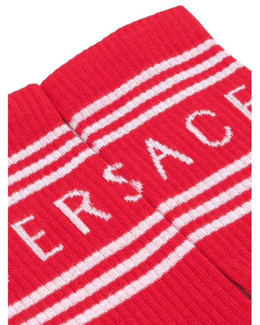 Versace ロゴ 靴下 Red