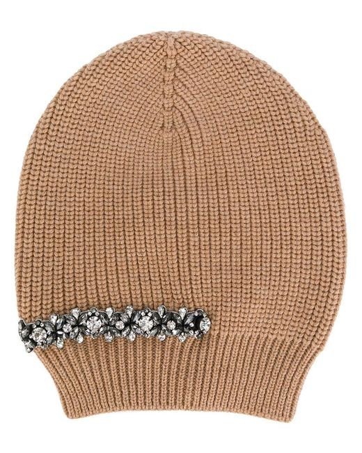 N°21 - Natural Crystal Embellished Beanie - Lyst