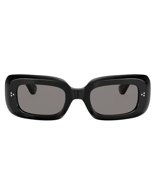 Oliver Peoples Black Saurine Rectangular Sunglasses