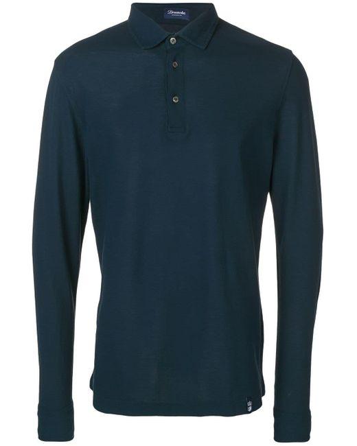 メンズ Drumohr ロングスリーブ ポロシャツ Blue