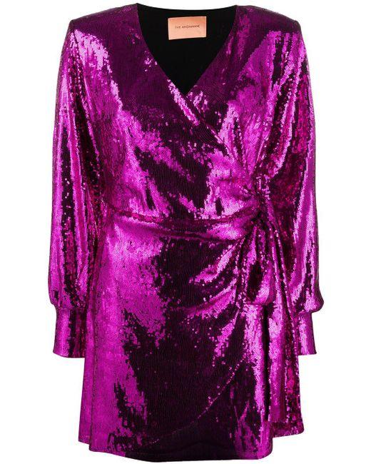 ANDAMANE Carly スパンコール ミニドレス Purple