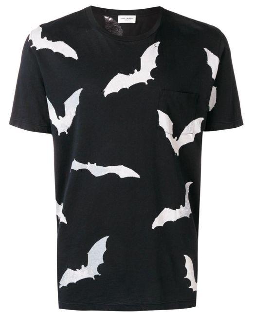 メンズ Saint Laurent プリント Tシャツ Black