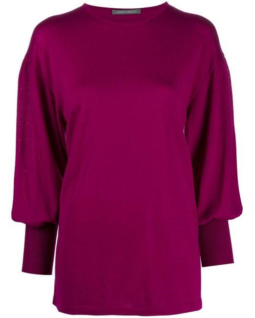 Alberta Ferretti Purple Bell-sleeved Jumper