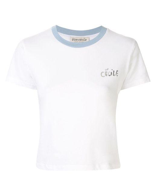 Être Cécile White Logo Print Cropped T-shirt