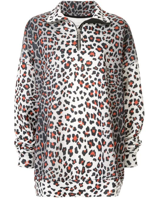 Marques'Almeida Gray Oversized-Sweatshirt mit Leo-Print