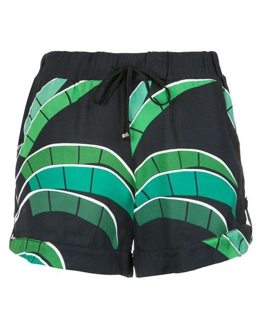 Amir Slama Black Tropical Print Shorts