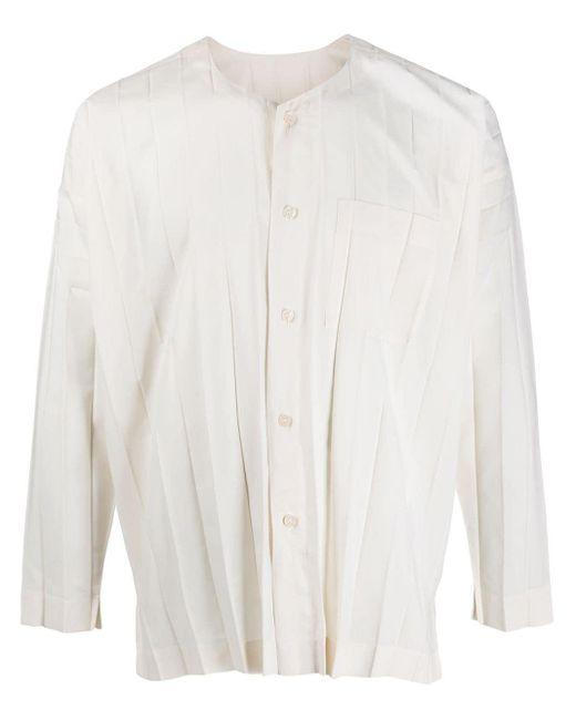 Chemise plissée à design sans col Homme Plissé Issey Miyake pour homme en coloris White