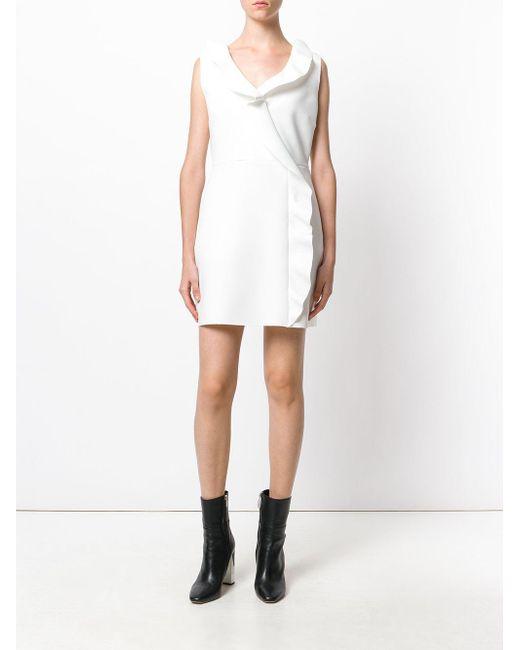 plisada con MsgmVestido costura Lyst blanca entallado qwY0wv
