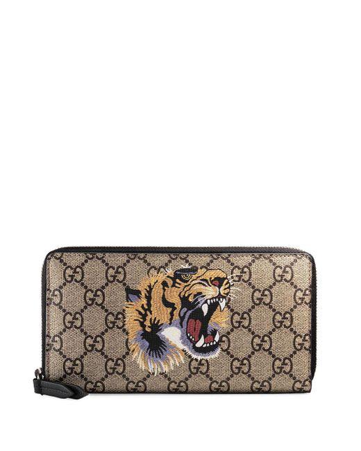 メンズ Gucci タイガープリント GGスプリーム 財布 Multicolor