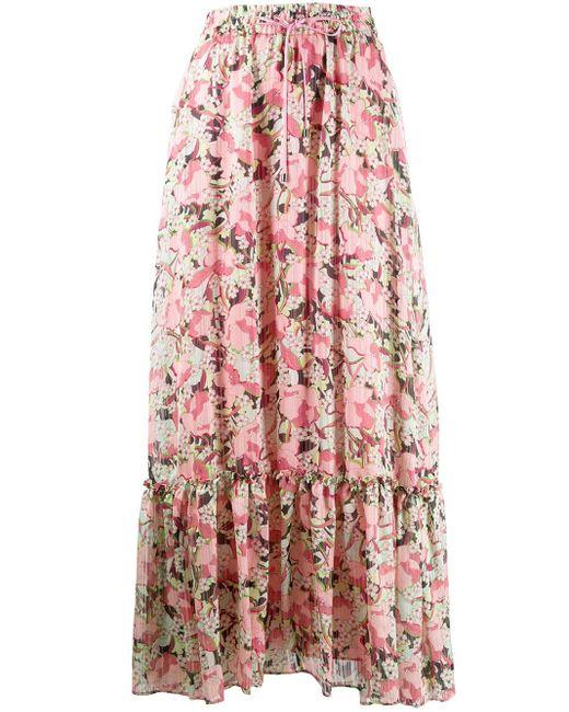 Pinko Pink Floral-print Maxi Skirt
