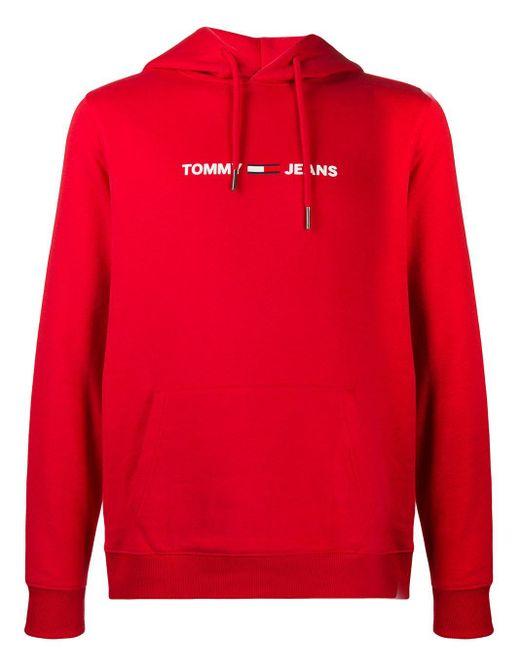 メンズ Tommy Hilfiger ロゴ パーカー Red