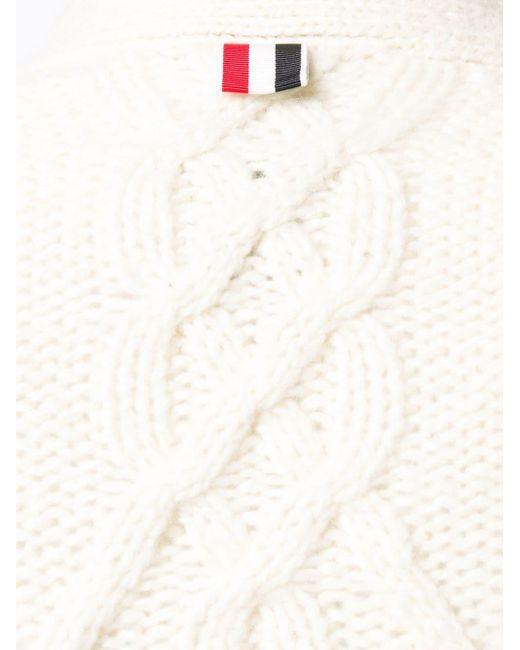 Кашемировый Кардиган Фактурной Вязки Thom Browne для него, цвет: White