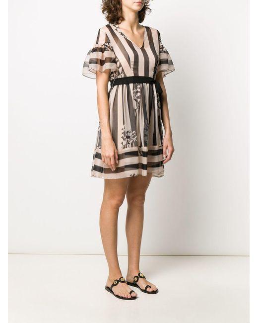 Twin Set フローラル ストライプ ドレス Multicolor