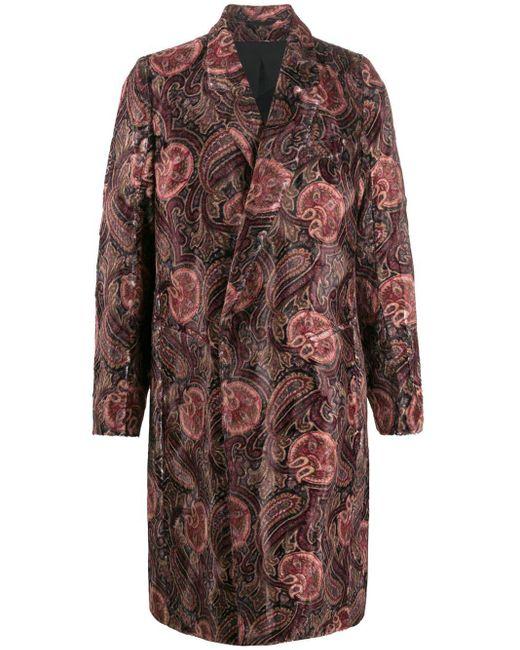 Ann Demeulemeester Red Long Sleeve Paisley Pattern Coat for men