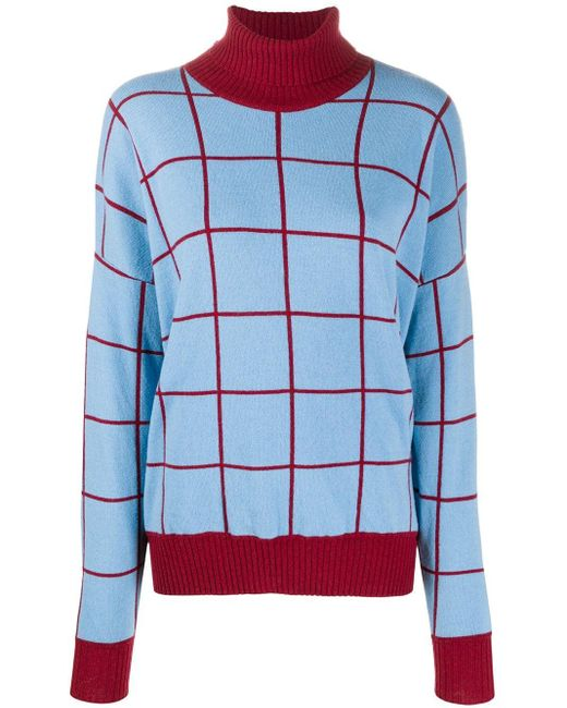 LaDoubleJ チェック セーター Blue