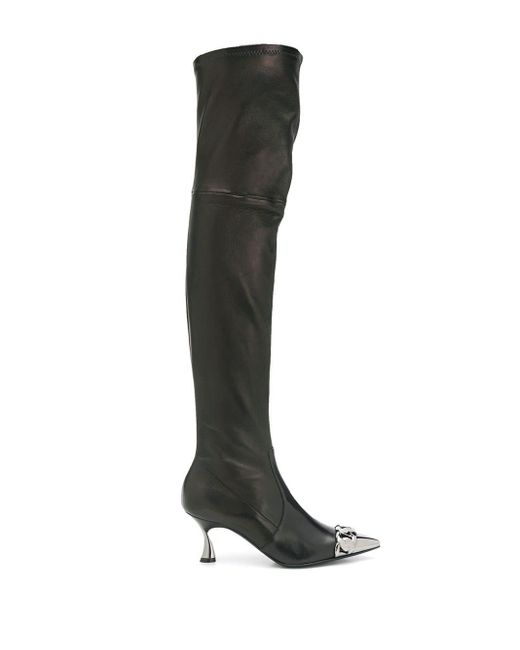Casadei チェーンリンク ブーツ Black
