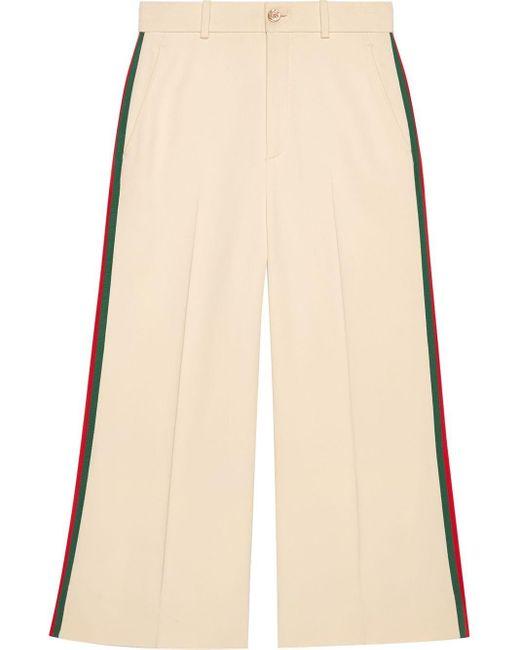 Pantalon évasé crop à détails Web Gucci en coloris White
