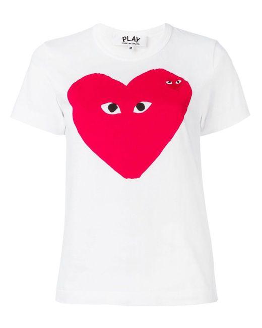 COMME DES GARÇONS PLAY White Heart Print T-shirt