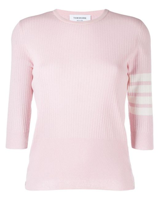 Thom Browne Pink Ribbed-knit 4-bar Stripe Top