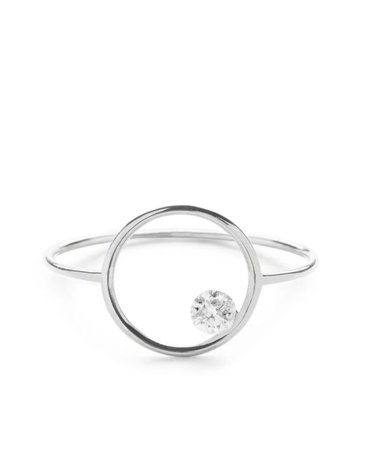 The Alkemistry 18kt White Gold Drilled Diamond Circle Ring