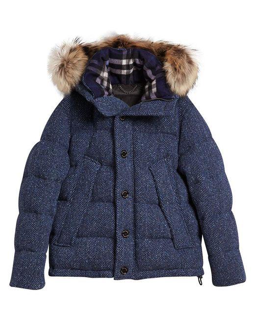 Burberry - Blue Detachable Fur Trim Down Parka - Lyst
