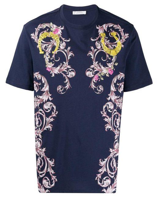 メンズ Versace フローラル Tシャツ Blue