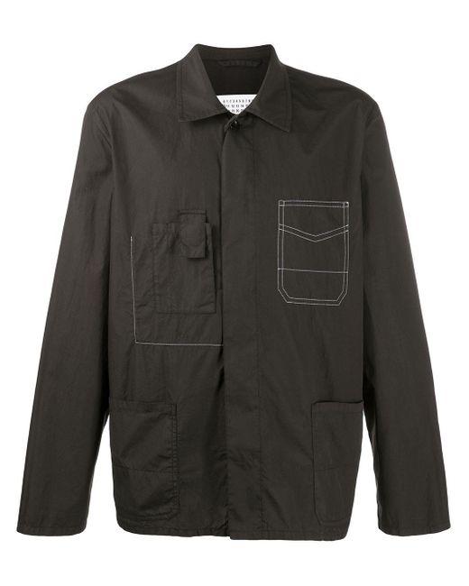 メンズ Maison Margiela コントラストステッチ シャツ Black
