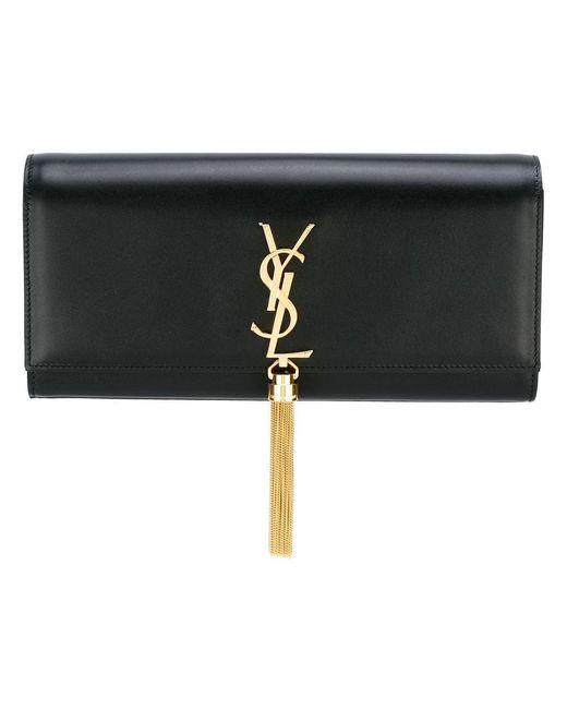 Saint Laurent - Black Classic Monogram Leather Clutch - Lyst