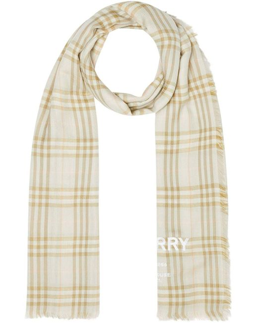Burberry ヴィンテージ チェック ライトウェイト カシミアスカーフ Natural