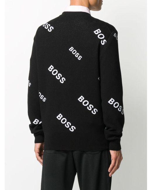 メンズ BOSS by Hugo Boss プリント プルオーバー Black