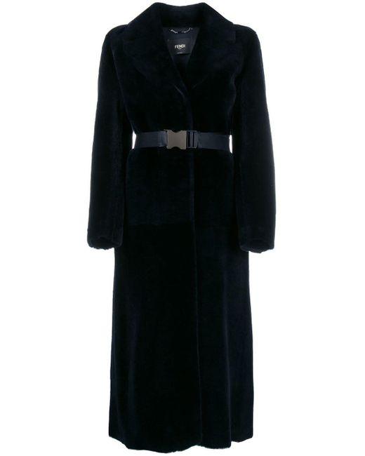 Fendi ラップスタイル ベルテッドコート Blue
