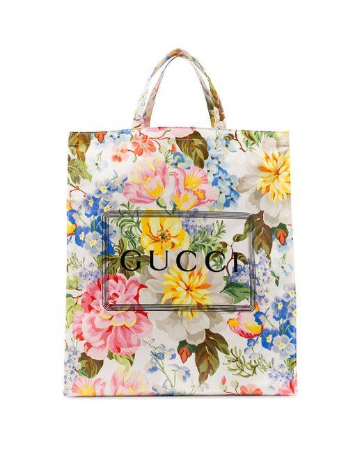 メンズ Gucci プリント フローラル トートバッグ Multicolor
