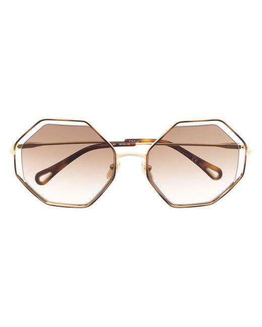 Солнцезащитные Очки В Массивной Оправе Chloé, цвет: Brown