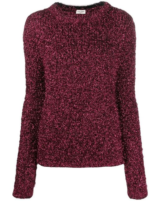Пушистый Джемпер С Эффектом Металлик Saint Laurent, цвет: Red