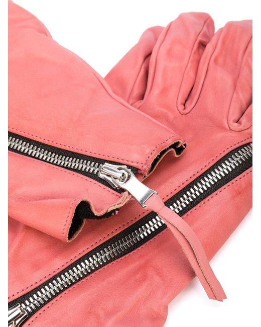 Фактурные Перчатки С Молнией The Viridi-anne, цвет: Pink