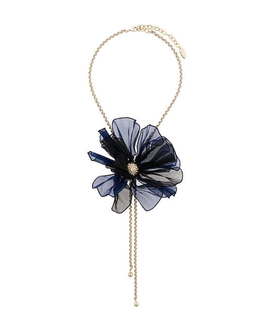 Lanvin - Blue Beaded Flower Necklace - Lyst