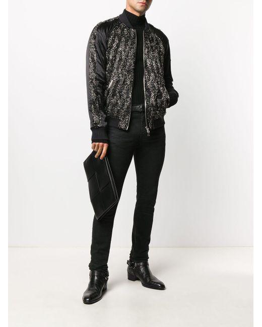メンズ Balmain スパンコール ボンバージャケット Black