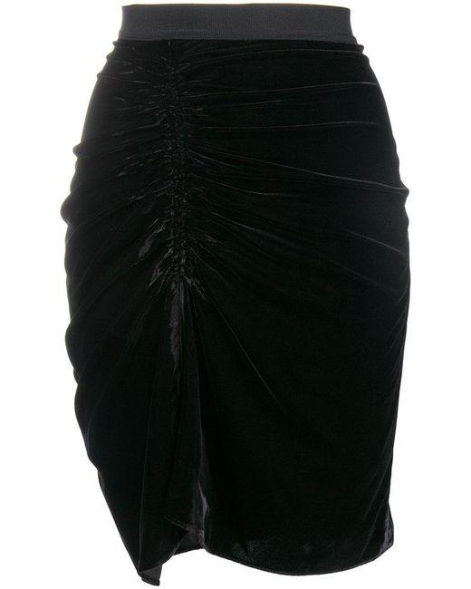Pinko - Black Ruched Front Velvet Skirt - Lyst