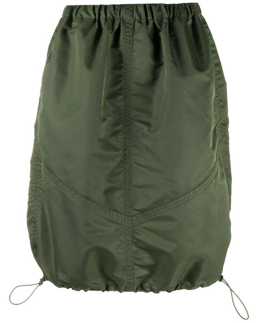 YMC Green Drawstring-hem Parachute Skirt