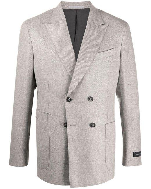 Двубортный Пиджак С Заостренными Лацканами Ermenegildo Zegna для него, цвет: Gray