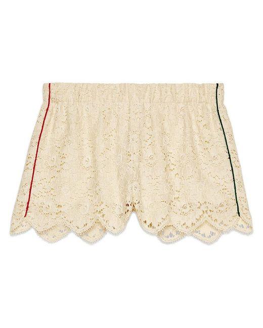 e3fcb7b5c4 Short de Encaje Floral Gucci de color Blanco - Lyst