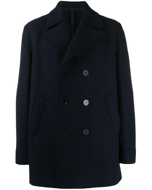 Harris Wharf London Blue Double Breasted Coat for men