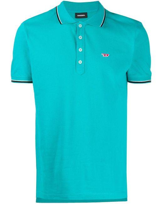 メンズ DIESEL ロゴ ポロシャツ Blue