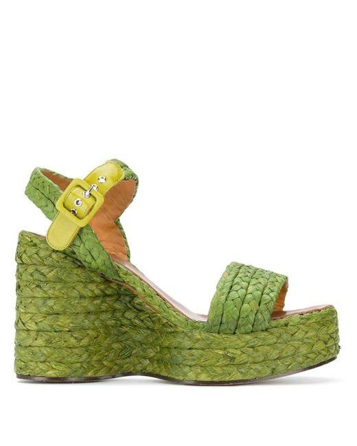 Sandalias con cuña trenzada Arum Clergerie de color Green