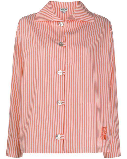 KENZO Camisa con estampado de rayas diplomáticas de mujer de color rosa WpZsb