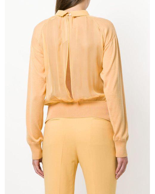 Sudadera con panel transparente N°21 de color Yellow
