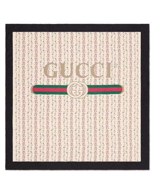 Gucci ローズプリント シルクスカーフ Natural