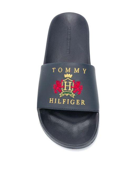 メンズ Tommy Hilfiger ロゴ サンダル Blue
